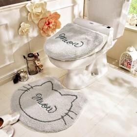 ねこ型のトイレマット・温水洗浄便座フタカバーセット