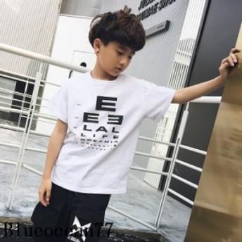 男の子 子供服 Tシャツ ジュニア ロゴプリント 2019夏 カットソー プルオーバー 半袖トップス ロゴT 丸襟 綿 キッズ