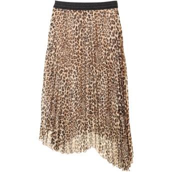【5,000円以上お買物で送料無料】レオパード柄アシメプリーツスカート