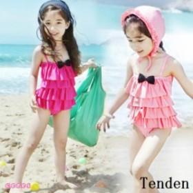 子供水着 女の子 ワンピース フリル キッズ キャップ付き 帽子セット 二点セット 韓国水着