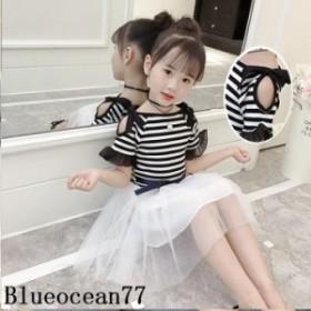 女の子 ワンピース 2019夏 肩出し 子供服 可愛いお姫様 ボーダー柄 切り替え ワンピース キッズ ドレス