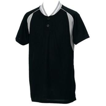 アシックス(asics) ジュニア 野球ウェア ベースボールシャツ ブラック×シルバー BAD12J 9010 男の子 女の子 半袖 Tシャツ キッズ 部活 少年野球