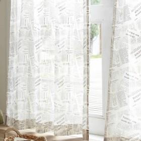 【オーダー】英字新聞をコラージュしたようなオーダーレースカーテン