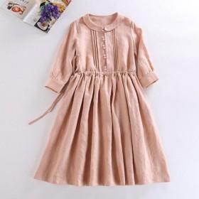 s09(再販5) 100%リネン特性織り生地 丸襟 ワンピース 天然素材を使用した リネンの癒しに包まれる