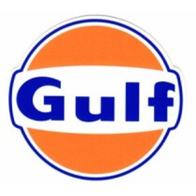 ステッカー 車 アメリカン おしゃれ バイク ヘルメット かっこいい オイル カーステッカー ガルフ Gulf ラウンドロゴ サイズS