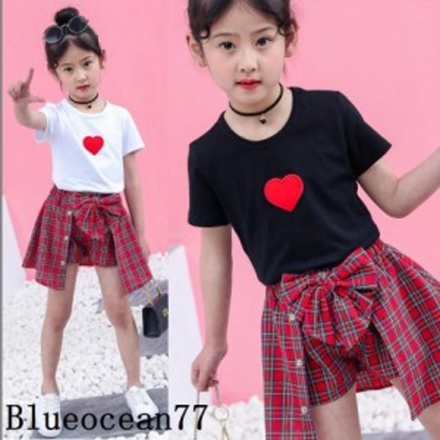 ハート ラッキーガール 女の子 子供服 キッズ セットアップ 上下セット Tシャツ 可愛いお姫様 半袖 スカンツ 夏 チュニック柄 ショートパ