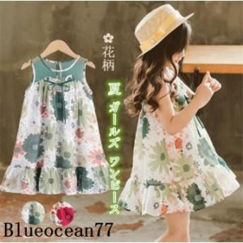 ベビー服 子供服 女の子 シンプル プリーツ ドレス 花柄 ベーシック ワンピース 長袖
