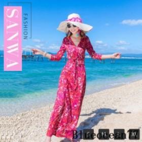 夏 旅行 リゾート Vネック セクシー スリット スカート ママ レディース ワンピース 体型カバー サマードレス ファッション おしゃれ リ
