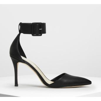 ワイドアンクル ラップヒール / Wide Ankle Wrap Heels (Black)