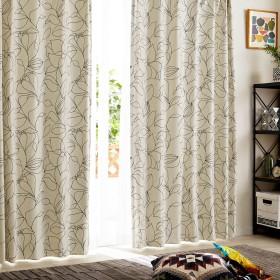 【58サイズ】モダンなモノクロフラワー柄の遮光カーテン