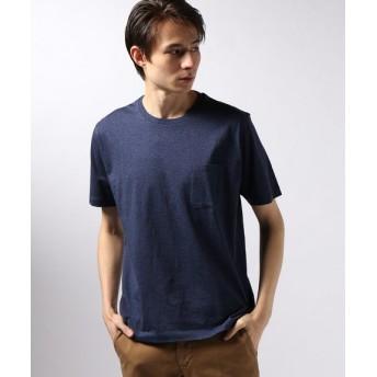 EDIFICE シルケットテンジク クルーネック ポケット Tシャツ ブルー S