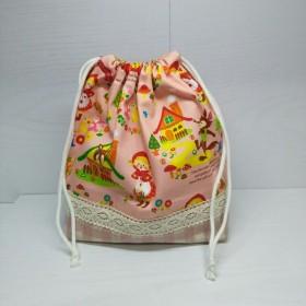 【入園·入学に】赤ずきんちゃん柄のお弁当袋 巾着 ピンク