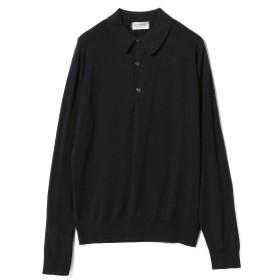 JOHN SMEDLEY / BRADWELL コットン ロングスリーブ ポロシャツ メンズ ポロシャツ BLACK S
