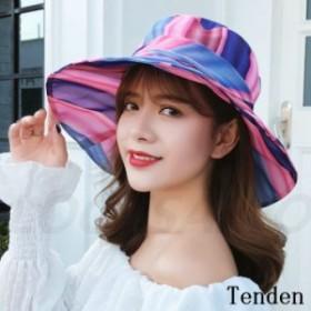 帽子 レディース ワイドハット アアウトドア キャップ 綿 UVカット 折りたたみ ハット 紫外線カット ストライプ柄 無地 つば広ハット 日