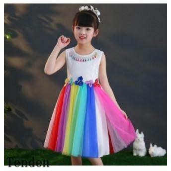 可愛いスタイル ワンピース 女の子 プリンセスドレス 入学 ワンピース入園 ワンピース フォーマル 半袖花柄 チュールスカート