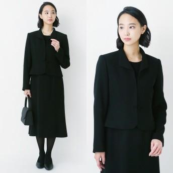 【喪服・礼服】ウィングカラーブラックフォーマル2点セットスーツ【7~21AR】