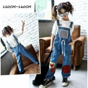 韓国サロペット パンツ キッズ 女の子 ロングパンツ ボトムス ジュニア 子供服 オーバーオール 長ズボン