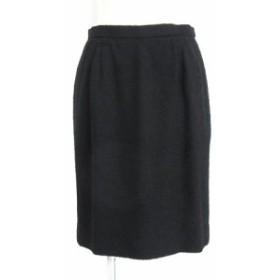 【中古】イヴサンローラン YVES SAINT LAURENT スカート ひざ丈 タイト ツイード ウール 黒 ブラック 36 レディース