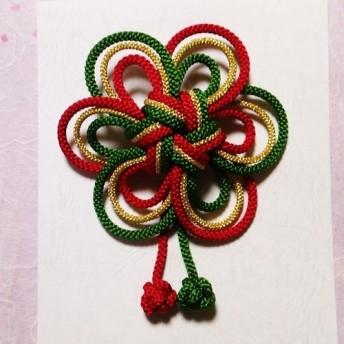 うめ結びの髪飾り 赤&緑&金 結婚式、成人式、卒業式の袴、振袖、和装に