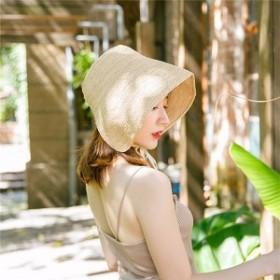 帽子 レディース UVカット 女性用 折りたたみ 大きいサイズ 夏 紐付き ストローハット UVカット帽子 つば広ハット 女性用 ハット 麦わら