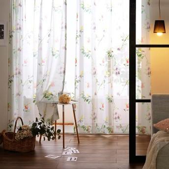【99サイズ】水彩タッチフラワー柄のプリント防炎薄地カーテン