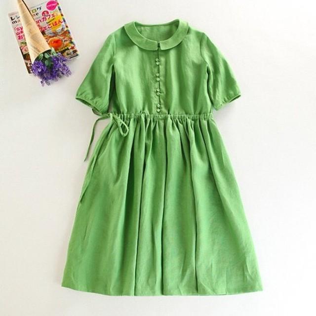 f054(再販)夏向け リネンの丸襟ワンピース グリーン