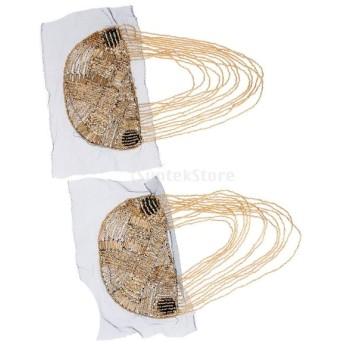 2個セット タッセル エンブレム ブローチ ショルダーボード バッジ ビーズ 肩章 服や帽子など アクセサリー パーティー