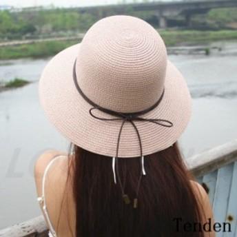 帽子 レディース 麦わら帽子 ぼうし ワイドハット 綿 小顔効果抜群 紫外線カット 上品 ママ 日よけ 無地 UVカット 折りたたみ UVカット