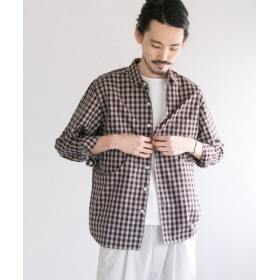 【50%OFF】 アーバンリサーチ フェザーコットンチェックシャツ メンズ WINE/BEG M 【URBAN RESEARCH】 【セール開催中】