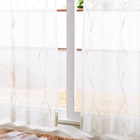 【58サイズ】シンプルなウェーブデザインのトルコ刺繍レースカーテン