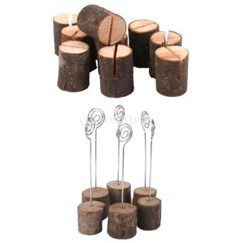 2セット 結婚式 ウェデイング用 木&鉄製 席札 ネームカード ホルダー クリップ テーブルナンバー オブジェ 装飾