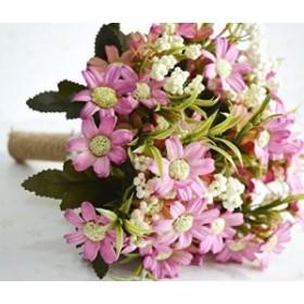 【お取り寄せ】造花 ブーケ コスモス風 ナチュラル 麻紐の持ち手 (ピンク)