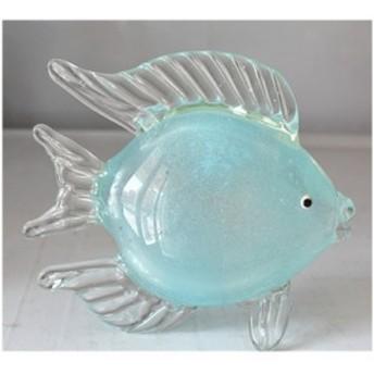 【お取り寄せ】置物 熱帯魚モチーフ 美しい透明感 夜光 蓄光タイプ ガラス製