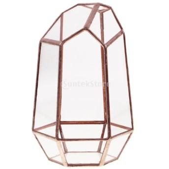 ガラス 鉢植え ガーデニング 園芸 寄せ植え ボックス 花器 全3色3サイズ - 銅色10 x 10 x 15cm