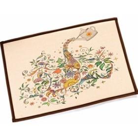 【お取り寄せ】玄関マット ナチュラル カントリー風 アートフラワー カラフル (A)