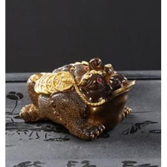 【お取り寄せ】置物 茶寵 茶玩 中国茶道具 お金をくわえた三本足のヒキガエル 風水 (ゴールド)