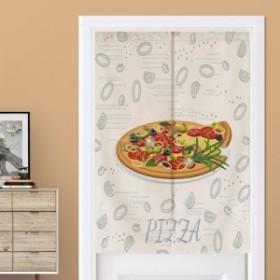 【お取り寄せ】のれん ピザのイラスト キッチン 家庭 店舗用 ナチュラルデザイン (Cタイプ)