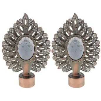 2個入 金属製 装飾 カーテン ロッドエンドキャップ 銅