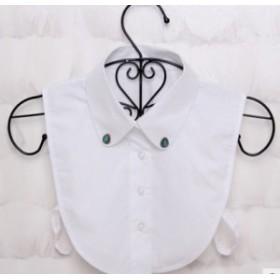 【お取り寄せ】付け襟 シャツ風 ターコイズ ブローチ付き (ホワイト)