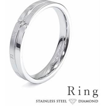 リング メンズ ステンレス 刻印 ダイヤモンド シンプル シルバーカラー ローマ数字 おしゃれ 指輪 サージカルステンレス 316L (grsd145sv