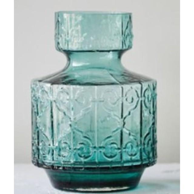【お取り寄せ】フラワーベース  美しい色合いと模様 くびれ付き アンティーク風 ガラス製 (小サイズ)