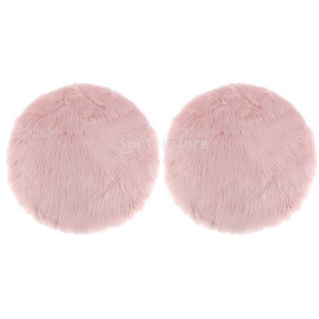 2枚 人工シープスキン ラグ ふわふわ ホーム フロアマット 柔らかい カーペット シートクッション 全2色 - ライトピンク