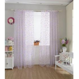 高品質 ドアカーテン  カーテン 装飾 窓 部屋 ボイルカーテン 子供  寝室 カラフル ドット (パープル)