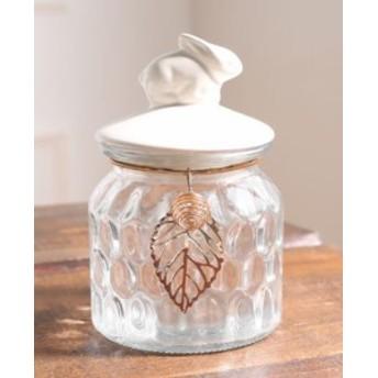 小物入れ うさぎモチーフの蓋 透かし模様のリーフチャーム付き ガラス製 (小サイズ)