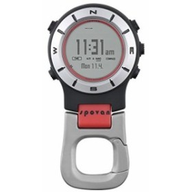 Spovan高度計バロメーターコンパスLEDデジタルクリップポケット時計