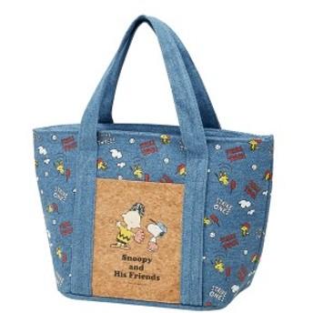 ランチバッグ コルクポケット付デニムバッグ スヌーピー キャラクター ( 保冷 保冷ランチバッグ クーラーバッグ お弁当袋 お弁当バッグ