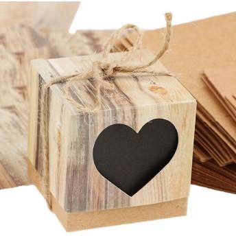 可愛い ハート柄 結婚式用 ギフトボックス キャンディボックス クラフト 茶色 50個セット