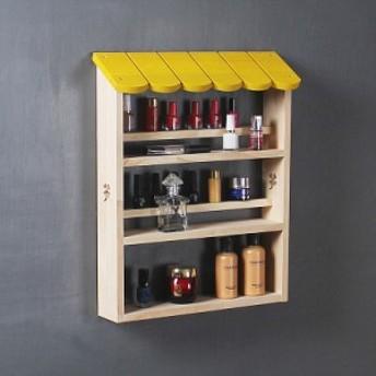 小物入れ 飾り棚 壁掛け 黄色い屋根 カフェ風 木製 ナチュラル雑貨