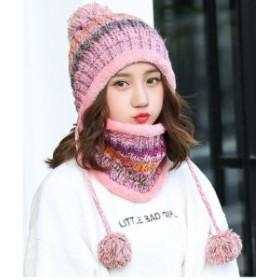 【お取り寄せ】ニット帽 ネックウォーマー お揃いセット ボンボン付き ボーダー (ピンク)