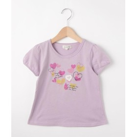 SHOO・LA・RUE/Kids(シューラルー /キッズ) 【80-130cm】綿天竺ぼかしハート半袖パフTシャツ